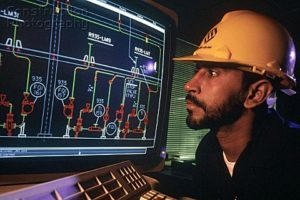 Oil refinery control room in Saudi Arabia, running Honeywell UOP systems