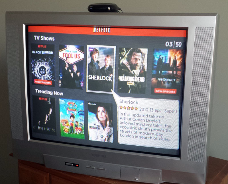 An old tube TV setup like a Smart TV with Netflix playing