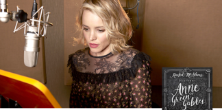 A photo of Rachel McAdams recording the Anne of Green Gables audio book.