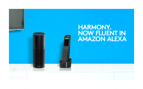 A Harmony remote next to an Echo