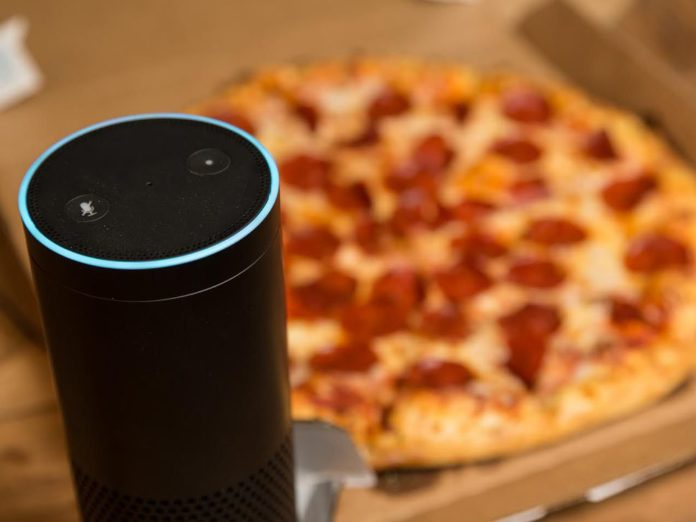 A picture of an Echo and a pizza