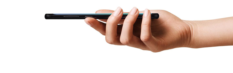 A hand holding a Samsung Galaxy S8