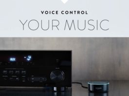 An Echo Dot controls a home audio system