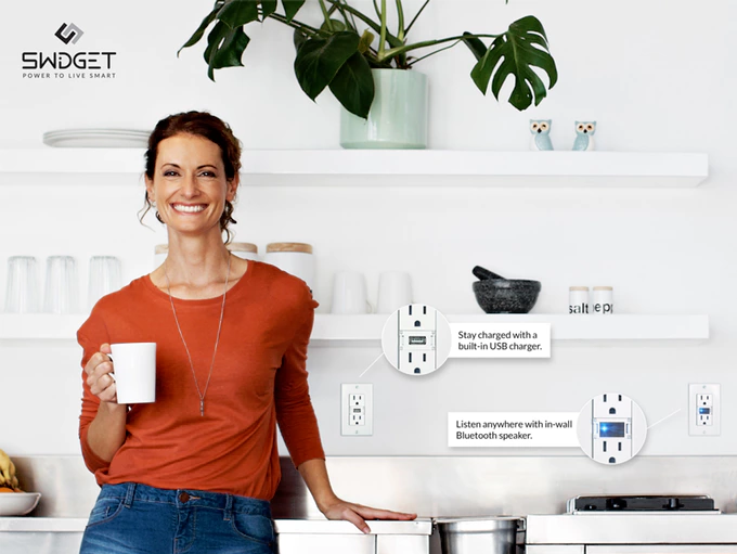 A woman in a room with Swidgets installed