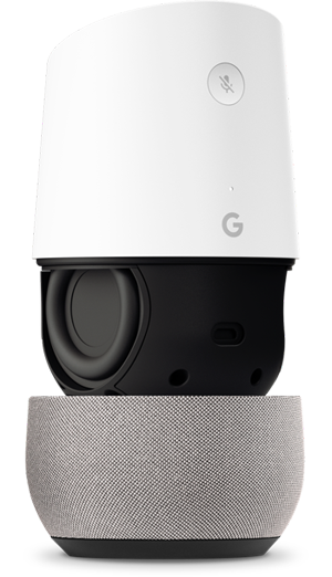 A Google Home with the inner speaker exposed