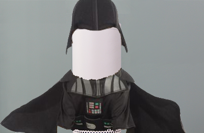 An Echo poorly photoshopped into a Darth Vader costume