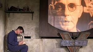 A screen capture from the film 1984 featuring the telescreen device