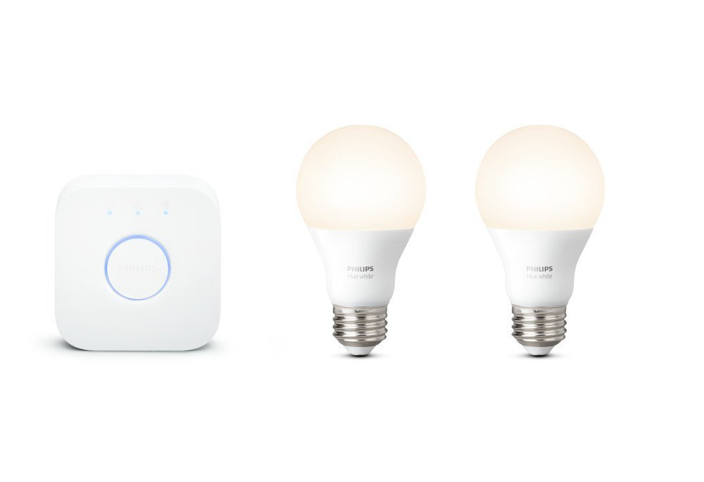 A promotional Image of the Philips hue starter kit