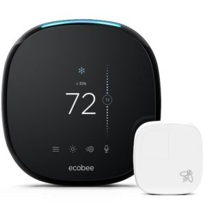A promotional image of the Ecobee 4 thermostat