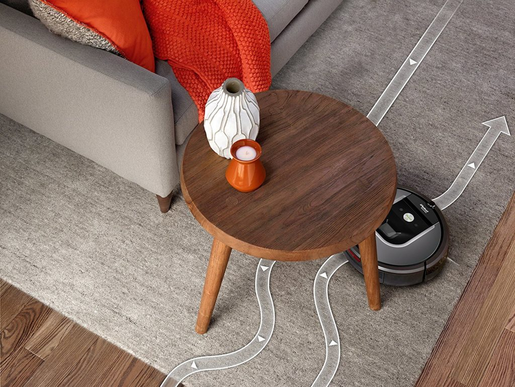 A graphic showing the path Roomba takes around obstacles