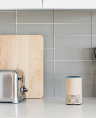 A wood style Echo on a counter