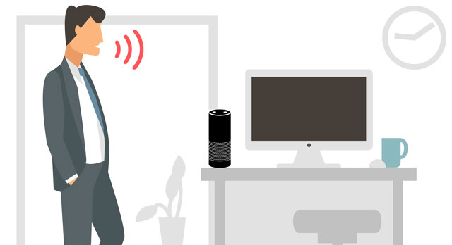 A graphic depicting a man speaking to an Echo