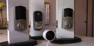 A display of Cloud Cams and Smart locks