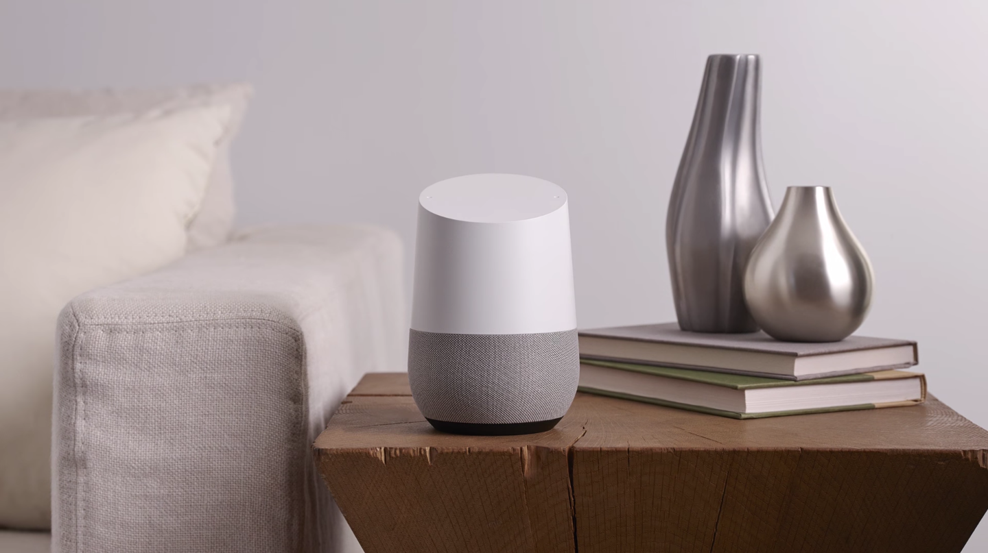 A Google Home on a table