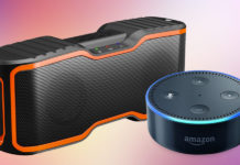 A promotional image of an Echo Dot and Aomais Sport